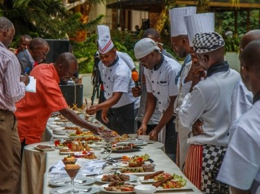 Ugandan chefs display their creations at the first Superfoods Contest in December 2015