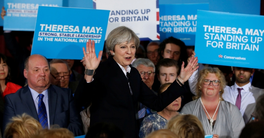 British Prime Minister Theresa May attends a rally in Ormskirk, Britain, May 1, 2017