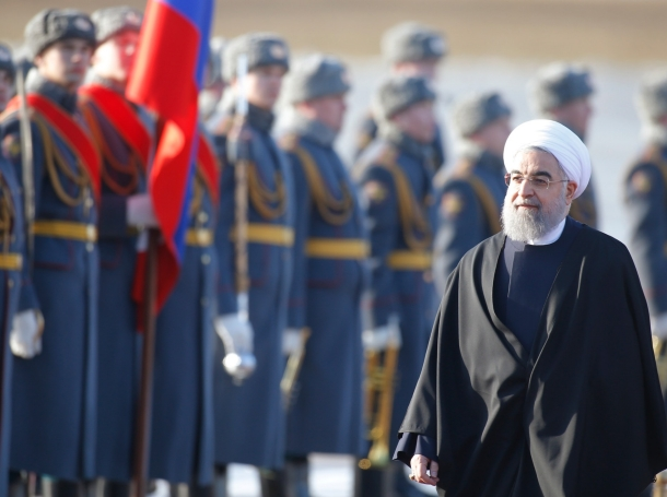 Iranian President Hassan Rouhani attends a welcoming ceremony at Vnukovo International Airport in Moscow, Russia, March 27, 2017