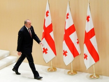 Georgia's President Georgy Margvelashvili walks after addressing the first session of the newly elected parliament in Kutaisi, Georgia, November 18, 2016.