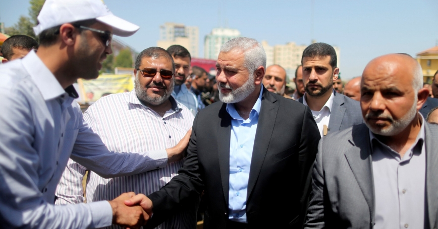 Ismail Haniyeh, newly elected head of Hamas' political office, arrives to visit a sit-in in support of Palestinian prisoners on hunger strike in Israeli jails, Gaza City, May 8, 2017