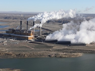 Steam rises from the coal-fired Jim Bridger power plant outside Rock Springs, Wyoming, April 5, 2017