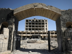 A former Islamic State prison in the town of Tabqa, after Syrian Democratic Forces captured it from Islamic State militants, Syria, May 12, 2017.