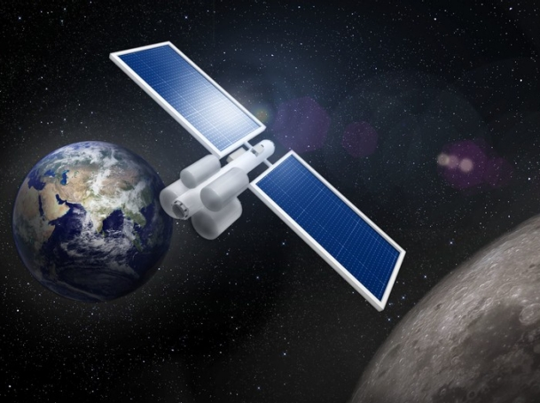 An artist's rendering of a refueling depot for deep-space exploration between Earth and the moon