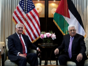 U.S. Secretary of State Rex Tillerson (L) meets with Palestinian President Mahmoud Abbas in Washington, U.S., May 3, 2017.