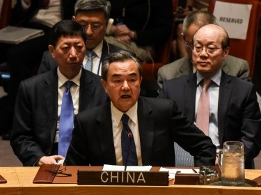 China's Foreign Minister Wang Yi speaks at a Security Council meeting on the situation in North Korea at the United Nations, New York City, April 28, 2017