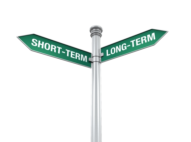 Direction Sign of Short-Term and Long-Term isolated on white background