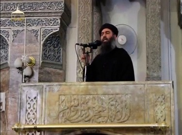 Abu Bakr al-Baghdadi speaking at the al-Nuri mosque in Mosul, July 5, 2014