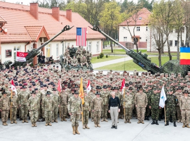 Acting Secretary of the Army Robert Speer visits the Bemowo Piskie Training Area near Orzysz, Poland, where U.S., U.K., and Romanian soldiers support NATO's Enhanced Forward Presence, May 5, 2017