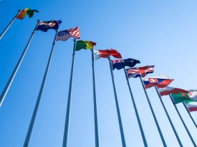 A row of flags from various countries