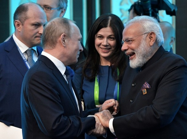 Russian President Vladimir Putin and Indian Prime Minister Narendra Modi attend a meeting at the Shanghai Cooperation Organization summit in Astana, Kazakhstan, June 9, 2017