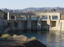 Parker Dam impounds Colorado River water into Lake Havasu, where it is pumped into the Colorado Aqueduct for delivery to Southern California, April 16, 2015.
