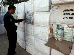 Libyan authorities accused al Qaeda of trying to smuggle 37 million tablets of the synthetic opiate Tramadol which were seized from a shipping container in Tripoli, March 3, 2011