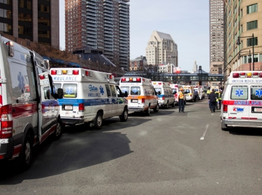 Ambulances line the street after explosions interrupted the Boston Marathon on April 15, 2013