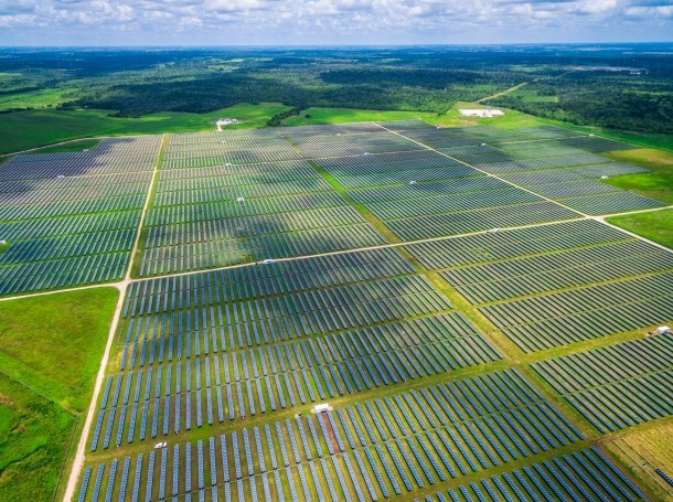 Aerial view of solar farm in central Texas
