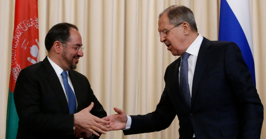 Russian Foreign Minister Sergei Lavrov and his Afghan counterpart Salahuddin Rabbani shake hands after their meeting in Moscow, Russia, February 7, 2017