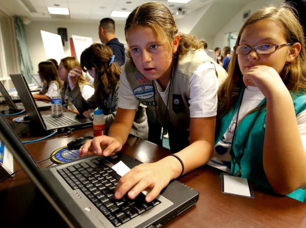 Girl Scouts compete in the Mission Ocean Challenge during the USS California Science Experience at Naval Surface Warfare Center, November 6, 2010