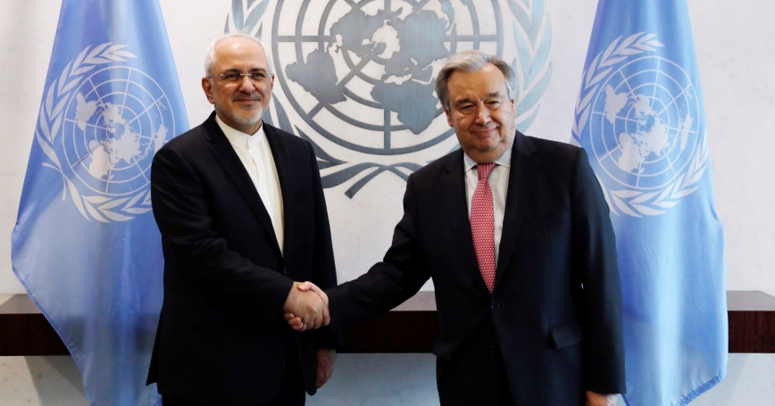 Iran's Foreign Minister Mohammad Javad Zarif greets United Nations Secretary-General Antonio Guterres at the U.N. headquarters in New York City, July 17, 2017