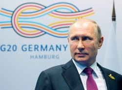 Russian President Vladimir Putin at the G-20 summit in Hamburg, Germany July 8, 2017
