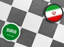 A checkers game depicting Saudi Arabia vs. Iran