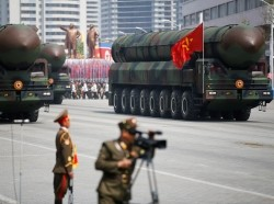Intercontinental ballistic missiles (ICBM) are driven during a military parade in Pyongyang, North Korea, April 15, 2017