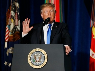 U.S. President Donald Trump announces his strategy for the war in Afghanistan during an address to the nation from Fort Myer, Virginia, August 21, 2017