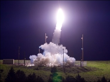 A Terminal High Altitude Area Defense interceptor is launched during Flight Test THAAD in Kodiak, Alaska, July 11, 2017
