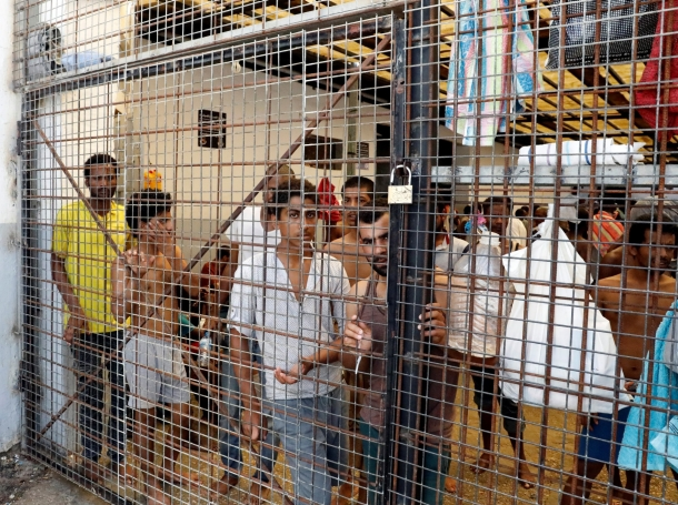 Migrants at the Anti-Illegal Immigration Authority in Tripoli, Libya, September 10, 2017