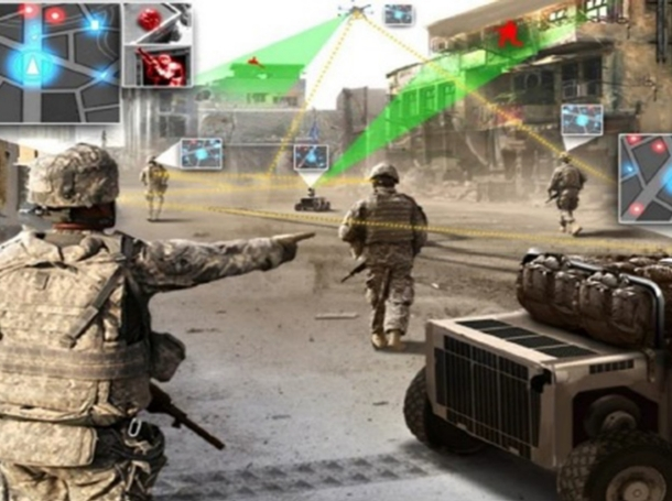 U.S. ground troops patrol while robots carry their equipment and drones serve as spotters