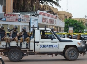 Security forces deploy to secure the area after an overnight raid on a restaurant in Ouagadougou, Burkina Faso, August 14, 2017