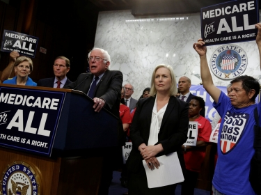 Senator Bernie Sanders speaks during an event to introduce the Medicare for All Act of 2017 on Capitol Hill in Washington, D.C., September 13, 2017
