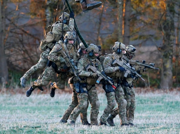 Belgian army Special Forces during a military exercise organised by the European Defence Agency at Florennes airbase, Belgium, November 30, 2016