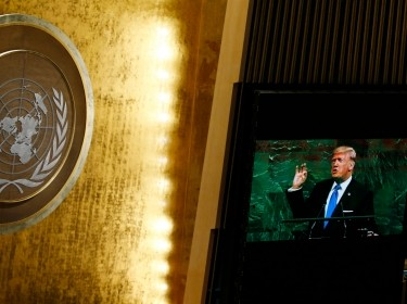 U.S. President Donald Trump is shown on a large screen as he addresses the 72nd United Nations General Assembly at U.N. headquarters in New York, U.S., September 19, 2017