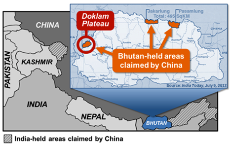 India-held and Bhutan-held territories claimed by China