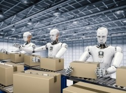 Robots working with cardboard boxes on a conveyer belt