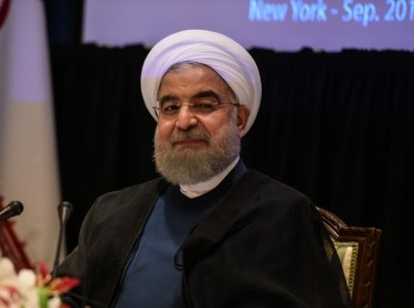 Iran's President Hassan Rouhani delivers remarks at a news conference during the United Nations General Assembly in New York City, September 20, 2017