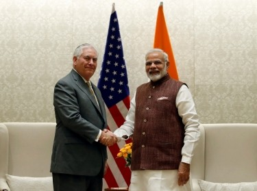 U.S. Secretary of State Rex Tillerson with Indian Prime Minister Narendra Modi before their meeting in New Delhi, India, October 25, 2017