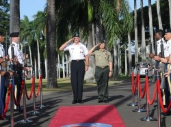 U.S. Army Pacific Commanding General, Gen. Robert Brown (left), and Philippines Army Commanding General, Lt. Gen. Glorioso, salute at an honor cordon convened on historic Palm Circle, Fort Shafter, Hawaii, to honor Glorioso's arrival February 1, 2017