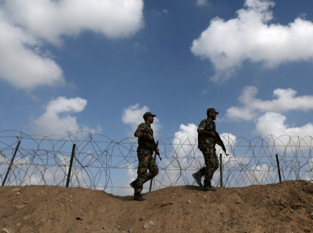 Members of Palestinian security forces loyal to Hamas patrol on the border with Egypt, in Rafah in the southern Gaza Strip October 8, 2017