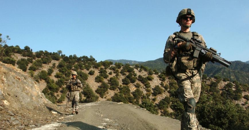 Soldiers patrol volatile Korengal Valley in Afghanistan's Kunar province