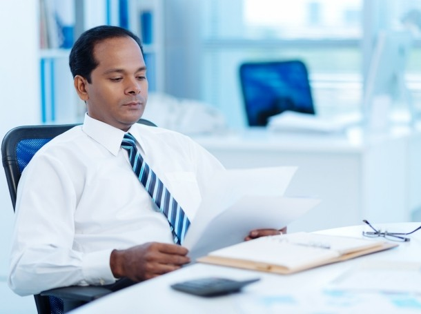 Man reviewing a document
