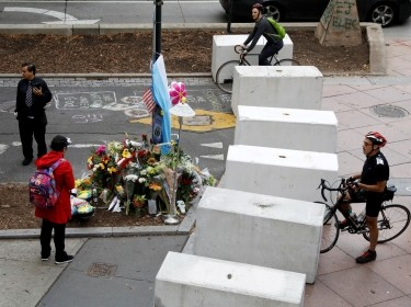 Protective barriers are placed along a bike path near a memorial for the victims of the October 31 attack in New York City, November 3, 2017