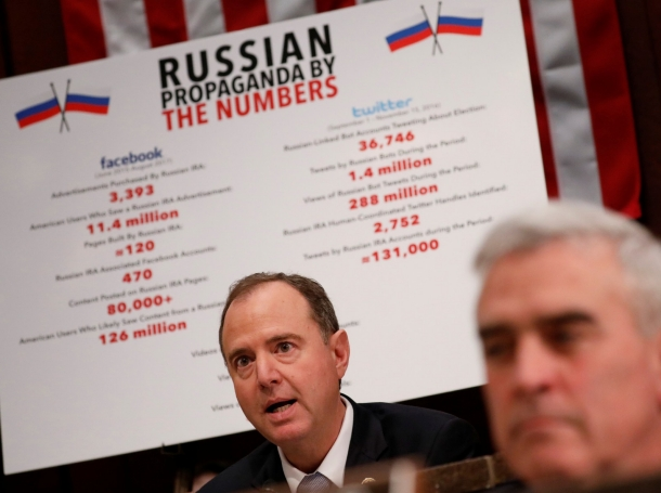 Congressman Adam Schiff speaks at a House Intelligence Committee meeting about Russian use of social media to influence U.S. elections, Washington, D.C., November 1, 2017