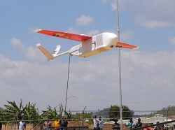 A drone takes off from an operations center in Muhanda, Rwanda, on its way to deliver blood supplies to remote hospitals, October 12, 2016