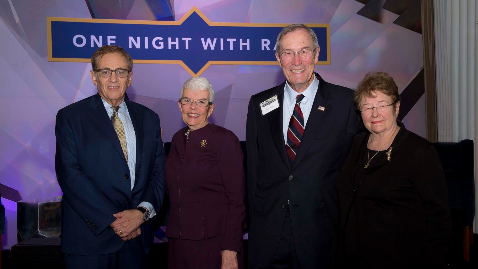 Michael Rich with honorees Susan and Donald Rice and Natalie Crawford at the One Night with RAND event in Santa Monica, California, November 9, 2017