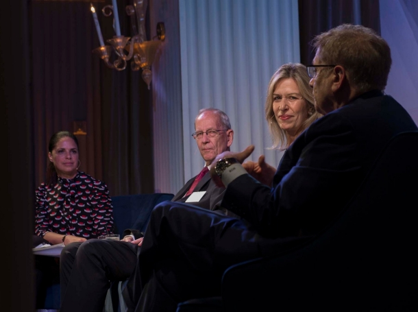 Soledad O'Brien, General Larry D. Welch, Elizabeth Sherwood-Randall, and Michael D. Rich at the One Night with RAND event at Hotel Casa del Mar in Santa Monica, California, November 9, 2017