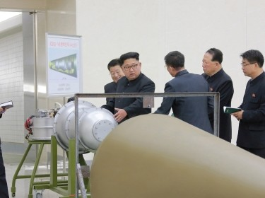 North Korean leader Kim Jong Un provides guidance with Ri Hong Sop (2nd L) and Hong Sung Mu (2nd R) on a nuclear weapons program in this undated photo released by North Korea's Korean Central News Agency (KCNA) in Pyongyang, North Korea