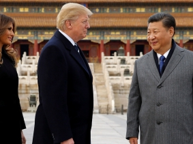 U.S. President Donald Trump and U.S. first lady Melania visit the Forbidden City with China's President Xi Jinping in Beijing, China, November 8, 2017