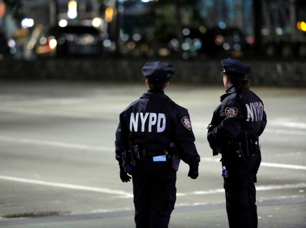 Police look toward the scene of a pickup truck attack on West Side Highway in Manhattan, New York, U.S., October 31 2017