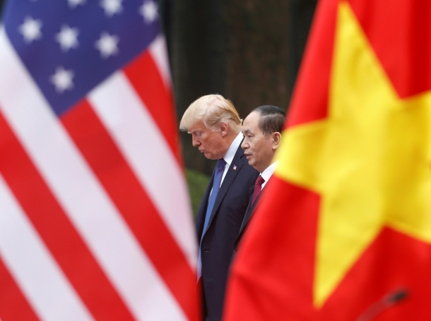 U.S. President Donald Trump and Vietnam's President Tran Dai Quang attend a news conference in Hanoi, November 12, 2017